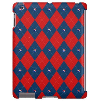 Caja de Argyle, del rojo, blanca y Azul-iPad