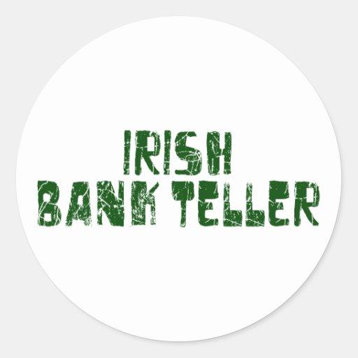 Caja de banco irlandesa pegatina redonda
