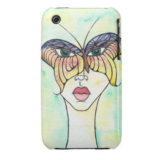 Caja de Blackberry de la máscara de la mariposa iPhone 3 Fundas