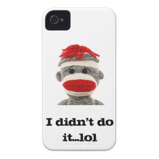 Caja de Blackberry del mono del calcetín. iPhone 4 Carcasas