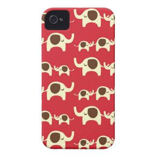 Caja de Blackberry del rojo cereza de los elefante iPhone 4 Case-Mate Carcasa