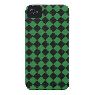 Caja de Blackberry del tablero de damas verde neg Case-Mate iPhone 4 Protector