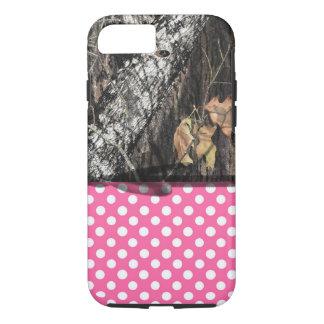 Caja de Camo y del rosa/blanca del lunar del Funda iPhone 7
