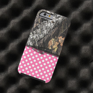 Caja de Camo y del rosa/blanca del lunar del Funda Para iPhone 6 Tough