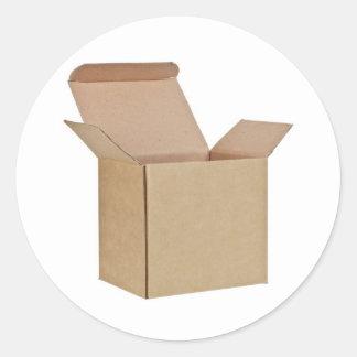 Caja de cartón abierta pegatina redonda