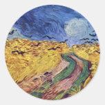 Caja de cereal con los cuervos de Vincent van Gogh Etiqueta Redonda