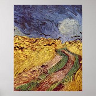 caja de cereal con los cuervos de Vincent van Gogh Póster