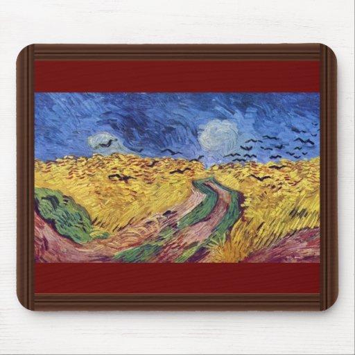 Caja de cereal con los cuervos de Vincent van Gogh Tapetes De Ratón