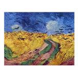 Caja de cereal con los cuervos de Vincent van Gogh Postal