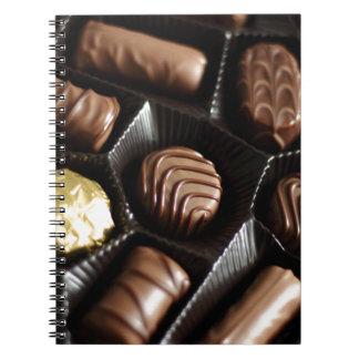 Caja de chocolate spiral notebooks