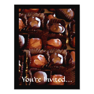 """Caja de chocolates, caramelo de chocolate de la invitación 4.25"""" x 5.5"""""""