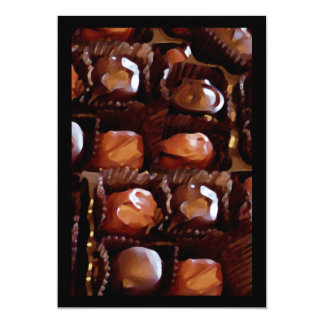 """Caja de chocolates, caramelo de chocolate de la invitación 5"""" x 7"""""""