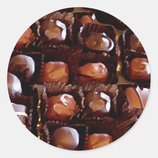 Caja de chocolates, caramelo de chocolate de la pegatina redonda