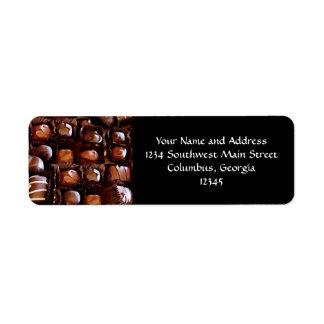 Caja de chocolates, caramelo de chocolate de la te etiquetas de remite