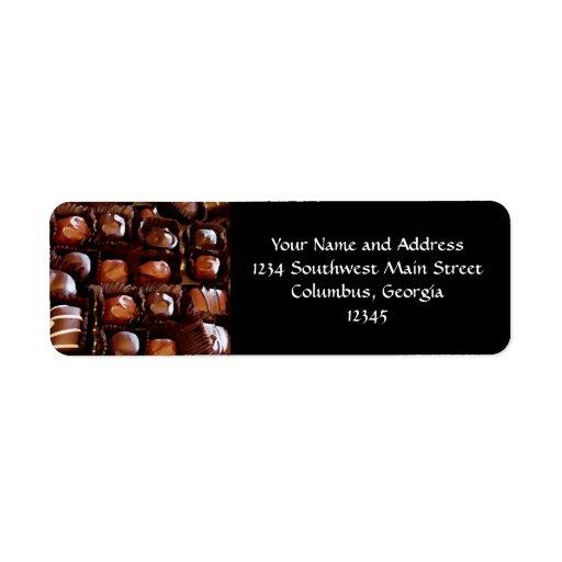Caja de chocolates, caramelo de chocolate de la te etiqueta de remitente