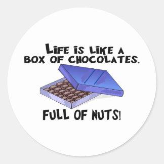 Caja de chocolates pegatina redonda