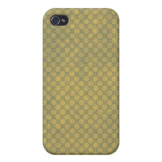 Caja de cobre amarillo de los círculos para el iPh iPhone 4 Fundas