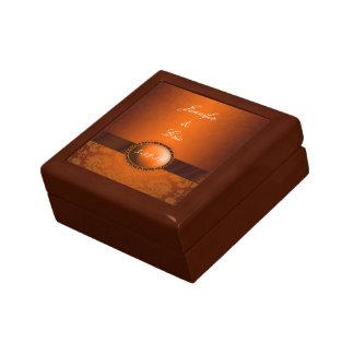 Caja de cobre del recuerdo del boda del damasco joyero cuadrado pequeño
