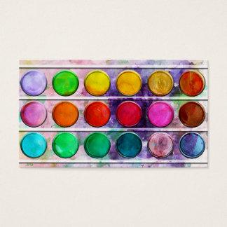 Caja de color colorida de la pintura de la tarjetas de visita