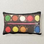 Caja de color colorida de la pintura del artista almohadas