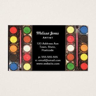 Caja de color colorida de la pintura del artista tarjetas de visita
