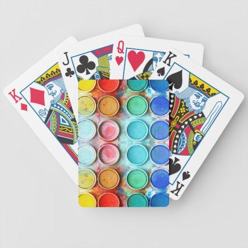 Caja de color de la pintura de la diversión barajas de cartas