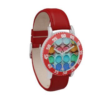 Caja de color de la pintura de la diversión reloj de mano