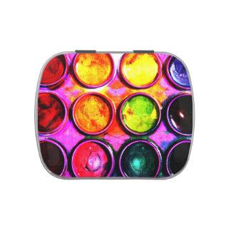caja de color vibrante de la pintura de la latas de dulces