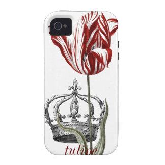 Caja de corona francesa del tulipán Case-Mate iPhone 4 fundas