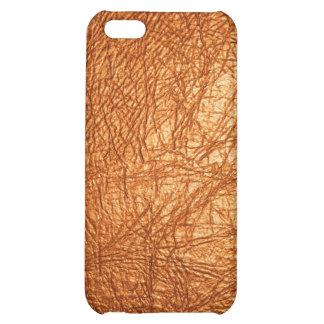 caja de cuero anaranjada de Iphone de la textura