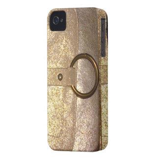 Caja de cuero de oro del diario - monedero V3 iPhone 4 Funda