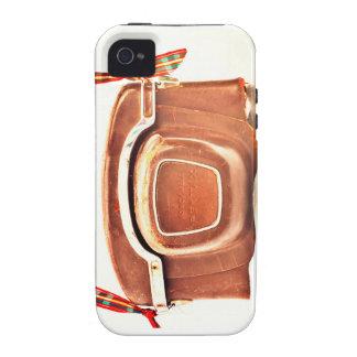 Caja de cuero del teléfono de la cámara del vintag Case-Mate iPhone 4 carcasa