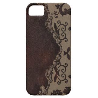 caja de cuero marrón de moda del damasco iphone5 iPhone 5 funda
