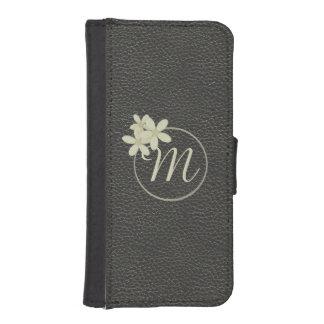 Caja de cuero negra con monograma del iPhone 5/5s Billetera Para Teléfono
