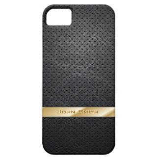 Caja de cuero oscura rayada oro del iPhone 5 iPhone 5 Protector