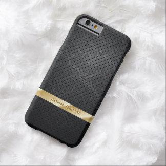 Caja de cuero oscura rayada oro del iPhone 6 Funda Para iPhone 6 Barely There