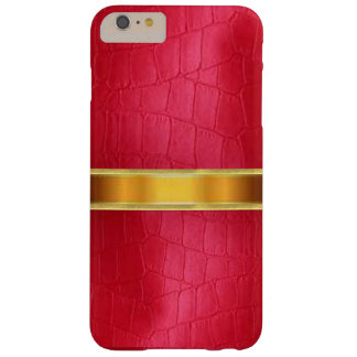 Caja de cuero roja del iPhone 6 de la textura de Funda De iPhone 6 Plus Barely There