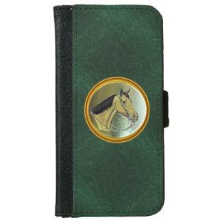 Caja de cuero verde de la cartera del diseño del carcasa de iPhone 6