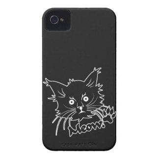 Caja de encargo de Blackberry del gato negro iPhone 4 Protectores