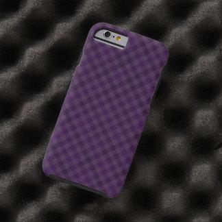 Caja de encargo de la tela escocesa de la púrpura funda resistente iPhone 6