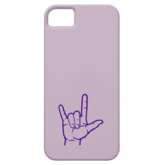 Caja de encargo púrpura del ASL te amo Funda Para iPhone SE/5/5s