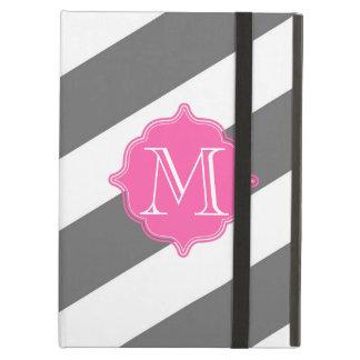 Caja de encargo rayada gris y rosada del monograma