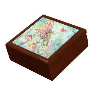 Caja de hadas de la baratija de la flor libre joyero cuadrado grande