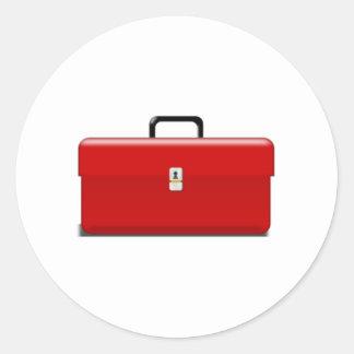 Caja de herramientas pegatina redonda