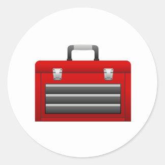 Caja de herramientas roja pegatina redonda