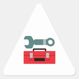 Caja de herramientas y llave pegatina de trianguladas