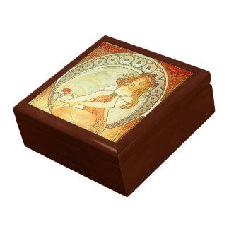 Caja de joyería hermosa de Nouveau del arte Caja De Recuerdo