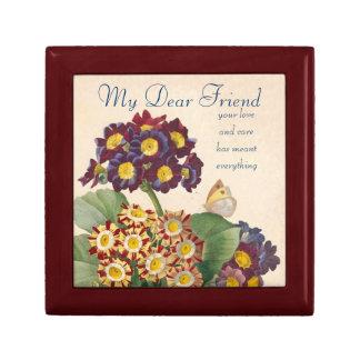 Caja de la amistad de la primavera del vintage joyero cuadrado pequeño