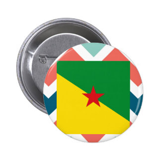 Caja de la bandera de la Guayana Francesa en Pin Redondo 5 Cm