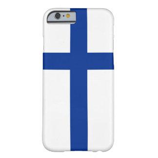 caja de la bandera de país del suomi de Finlandia Funda De iPhone 6 Barely There